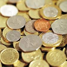 lots of coins of different denominations