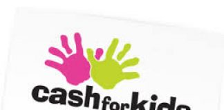 two colourfulmcartoon hands with the statement 'cash for kids'