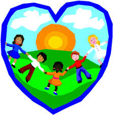 symbol of heart with children having fun and holding hands