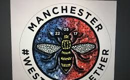 Manchester Bee emblem with the words Manchester (hashtag) we stand together to represent Manchester Day 17th June 2018