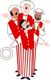 cartoon image of barber shop quartet