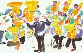 cartoon of brass band playing