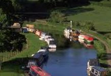 arial photo of canal with barges moored