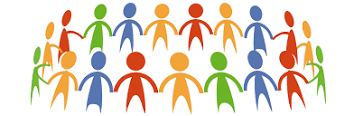 cartoon image of people holding hands in a circle