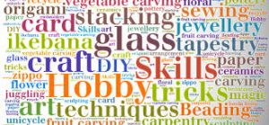 many different words relating to crafts and hobbies