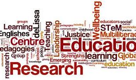 lots of words in different fonts depicting education and research