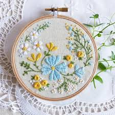 image of flowers embroidered on linen