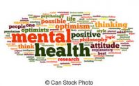 different fonts and words relating to mental health