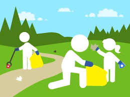 cartoon image of people picking up litter