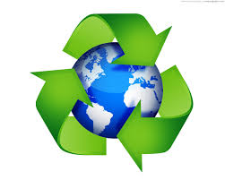 image of recycling triangle and the earth