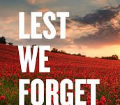 image of field of poppies and words lest we forget