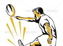 cartoon of man kicking a rugby ball