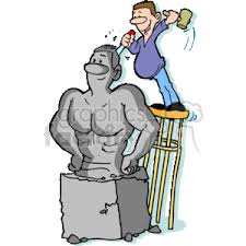 cartoon of man sculpting statue
