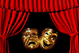 image of red stage curtains and theatre masks