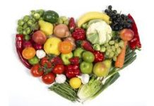 heart shaped plate of healthy food