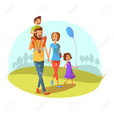 cartoon image of family walking
