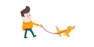 cartoon image of man walking a dog on a lead