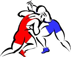cartoon image of two men wrestling