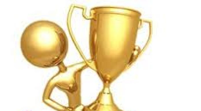 cartoon image of person receiving a large golden cup