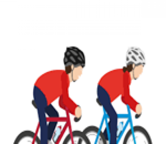 image of two young people cycling