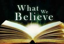 image of an open book with circle of light behaind and the words 'what we believe'