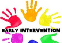 colourful hands in a circle with the words early intervention