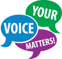 speech bubbles stating Your Voice Matters