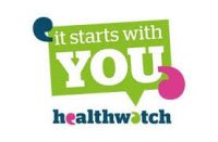 bright green poster saying 'it starts with you' and healthwatch underneath