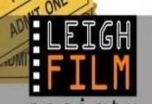 image of part of old filmstrip with Leigh Film Society