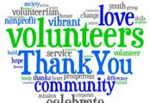 lots of different words and fonts in lots of different colours formed in a heart shape saying thank you to volunteers