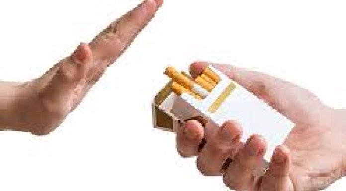 image of a hand refusing a cigarette