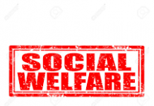red words in a rectangle stating social welfare