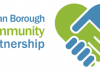 log for Wigan Borough Community Partnership showing cartoon hands in a handshake