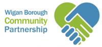 log for Wigan Borough Community Partnership showing cartoon hands in a handshake