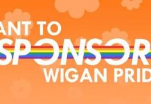 orange white and blue logo of Wigan Pride