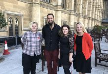 Danielle and Tom at Westminster with Jo Platt MP and Community Deal Worker Dan Zahler