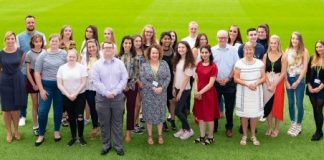 Young health champions with Councillor Bullen, Councillor Moodie, Professor Kate Arden and Kiran Kenth from Royal Society of Public Health