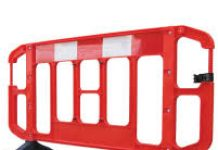 image of a red barrier used for road works