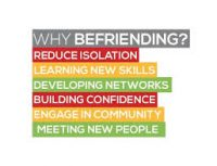 colourful image with words centred around befriending