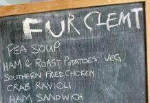 menu on chalk black board