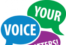 colourful speech bubbles saying ' your voice matters'