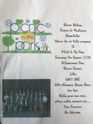 poster advertising picnic in the park butts bridge