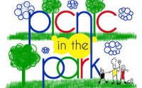 colourful cartoon image depicting picnic in the park