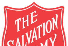 red and white shield depicting Salvation Army logo
