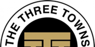 black white and gold logo for Three Towns