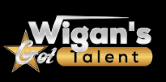 gold and white writing on a black background saying Wigans Got Talent