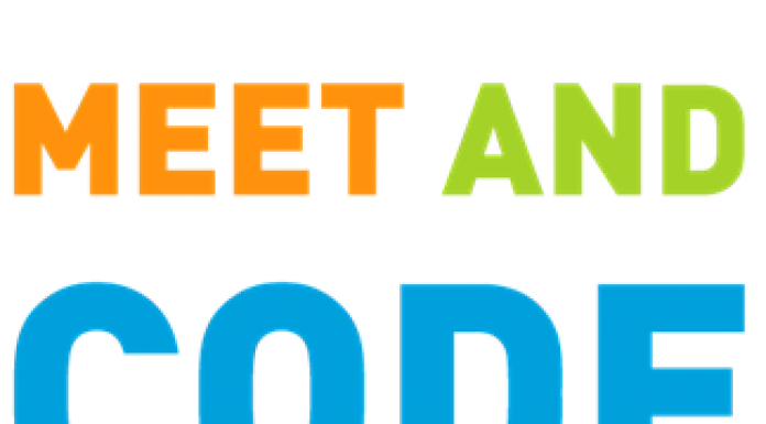 orange blue and green meet and ode logo