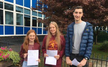 Students from St. Mary's Catholic High School Rachael O'Brien, 18, Elisabeth Nutter, 18, Joseph Newton