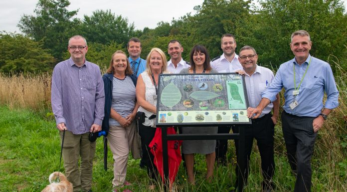 Photo 1: Simon Calderbank (far right), Councillor Chris Ready (2nd from right), Jackie Lowe (2nd from left)