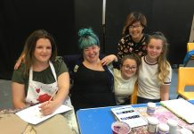 Young people with artists Lindsey Mendick and Debbie Chan.